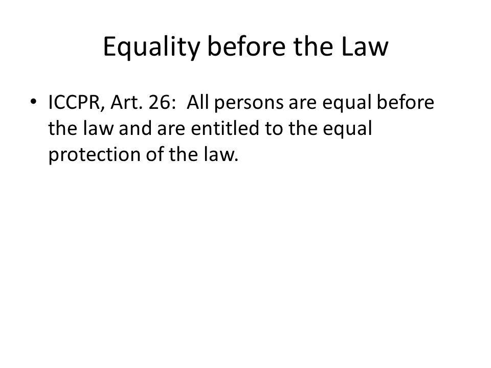 Non-Discrimination ICCPR, Art.