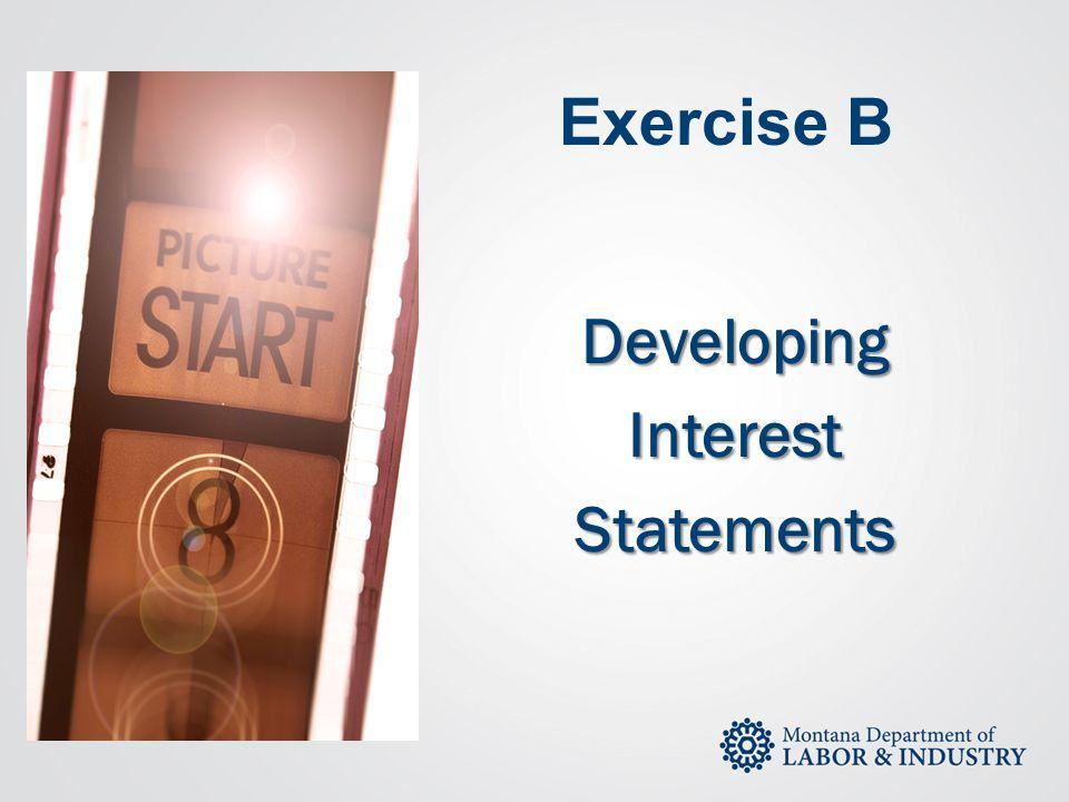 Exercise B DevelopingInterestStatements