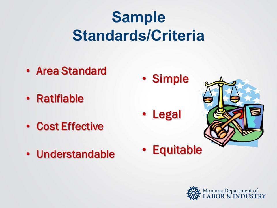 Sample Standards/Criteria Simple Simple Legal Legal Equitable Equitable Area Standard Area Standard Ratifiable Ratifiable Cost Effective Cost Effectiv