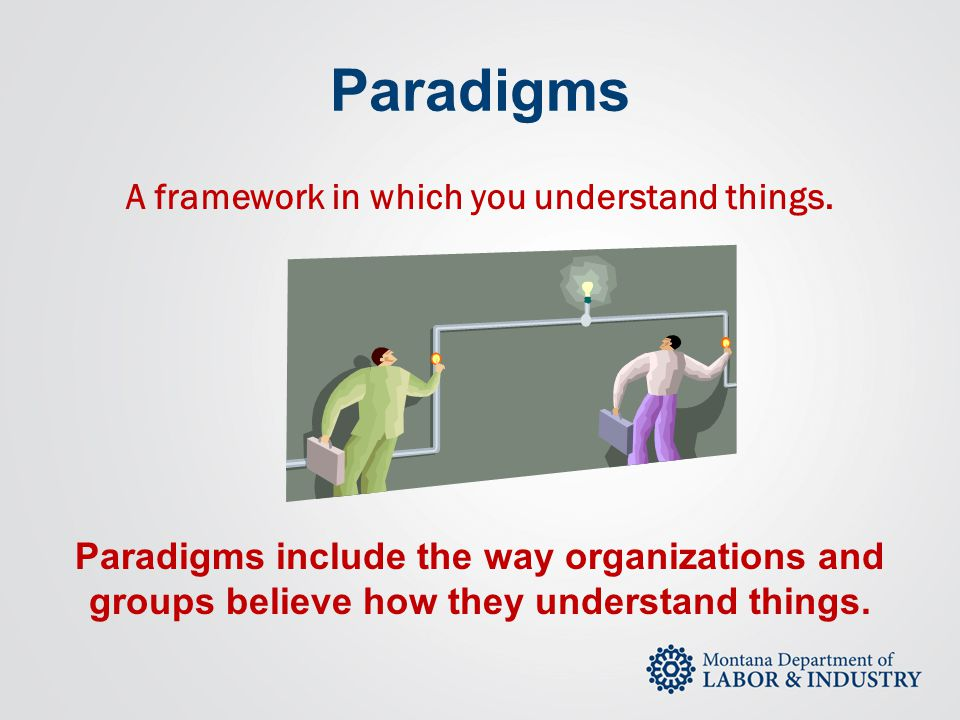 Paradigms A framework in which you understand things. Paradigms include the way organizations and groups believe how they understand things.