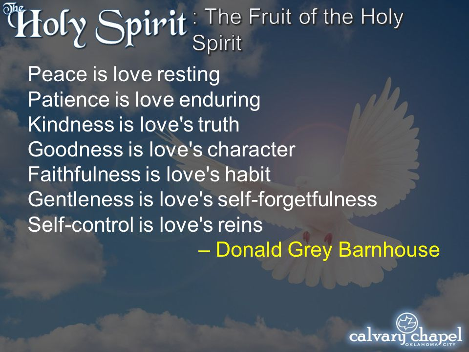 Peace is love resting Patience is love enduring Kindness is love s truth Goodness is love s character Faithfulness is love s habit Gentleness is love s self-forgetfulness Self-control is love s reins – Donald Grey Barnhouse