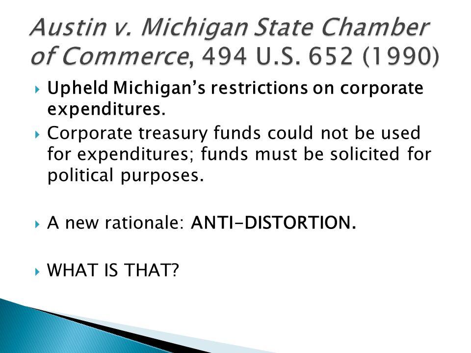  Upheld Michigan's restrictions on corporate expenditures.