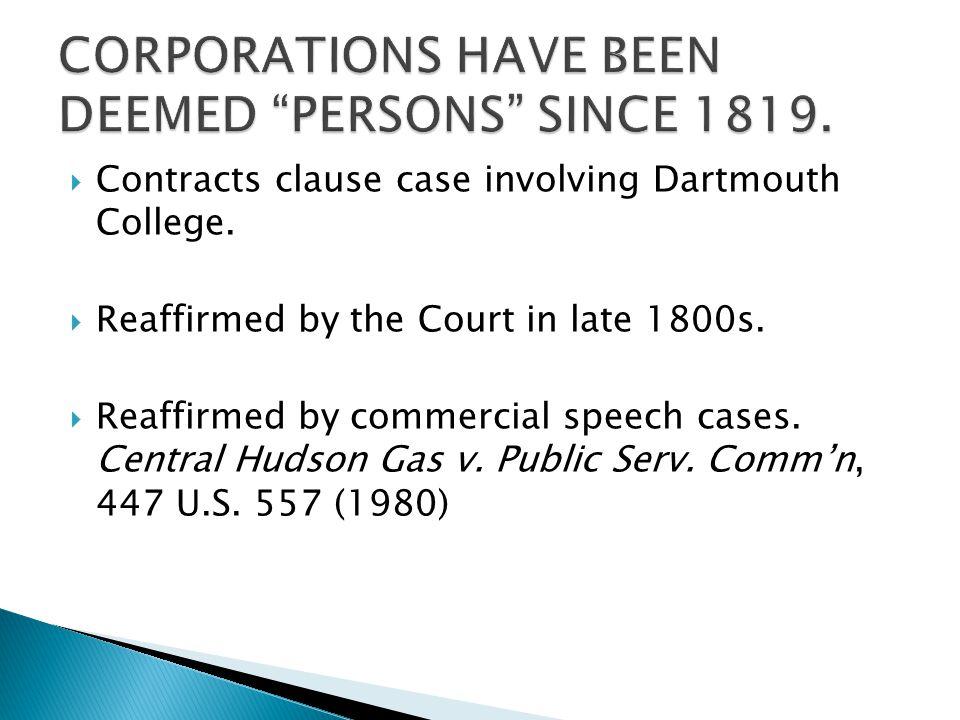  Contracts clause case involving Dartmouth College.