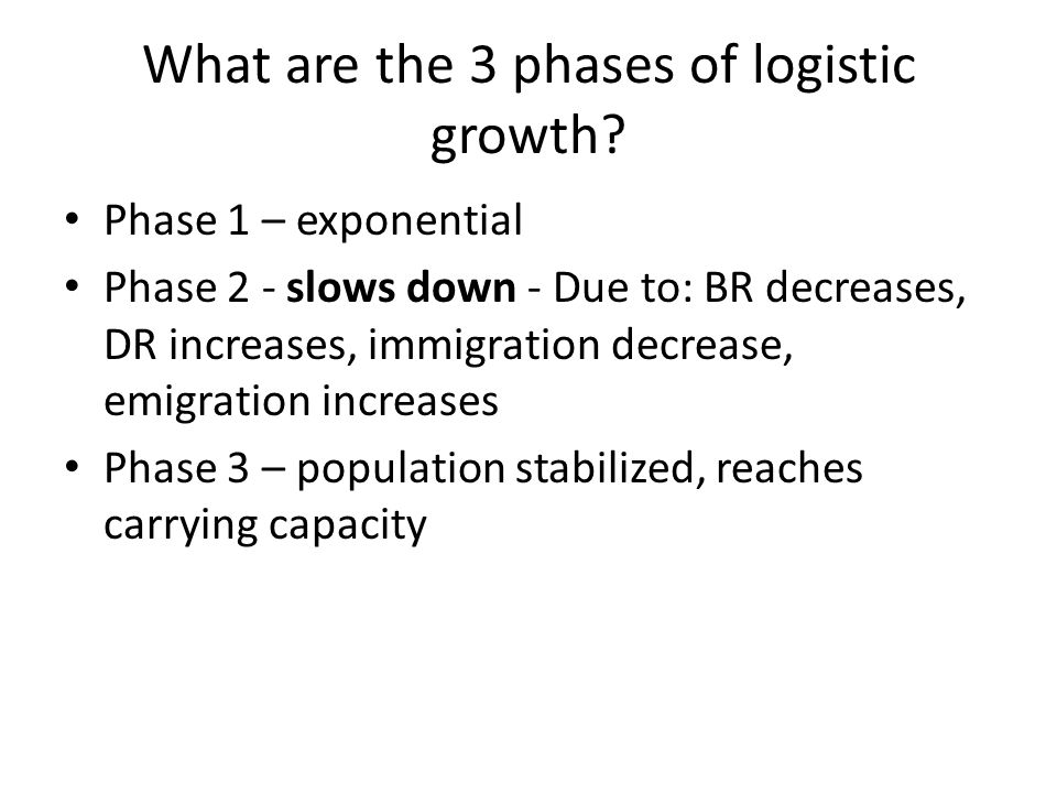 What are the 3 phases of logistic growth? Phase 1 – exponential Phase 2 - slows down - Due to: BR decreases, DR increases, immigration decrease, emigr