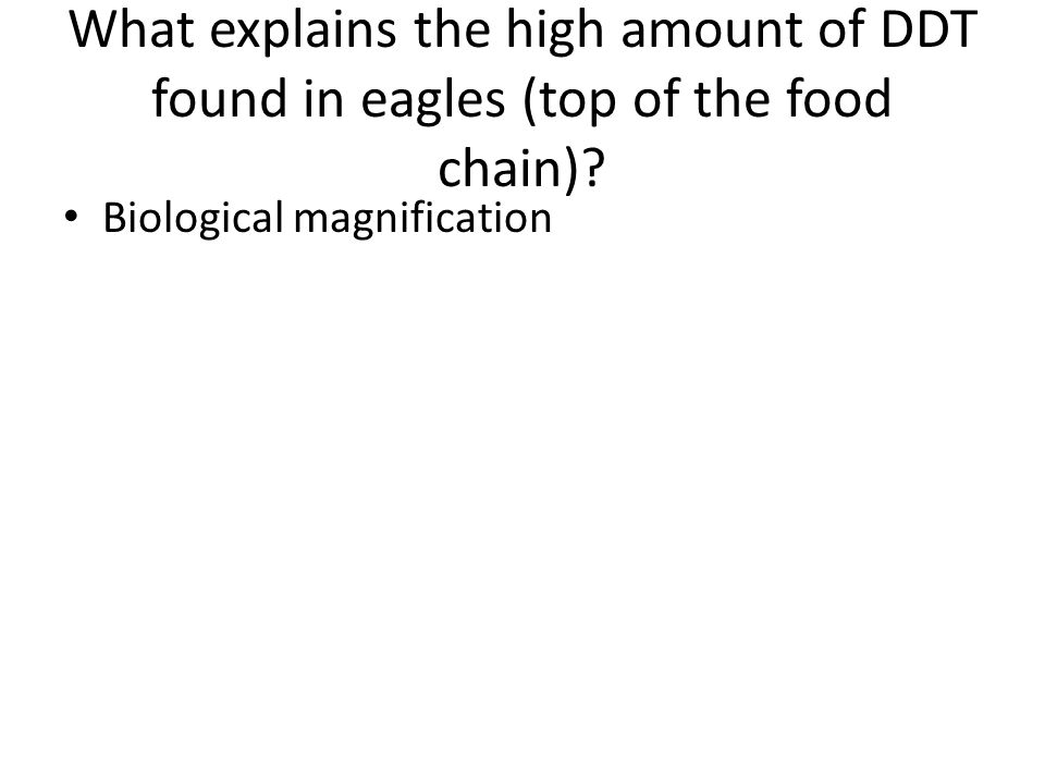 What explains the high amount of DDT found in eagles (top of the food chain)? Biological magnification