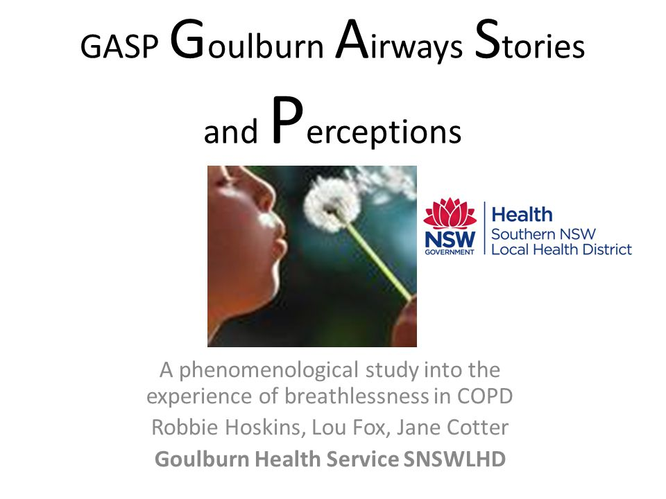 just anxiety Breathlessness most distressing symptom in COPD Simplistic perceptions exist amongst HP that it is just anxiety Previous studies and anecdotal evidence suggest it is more complex influenced by the patient's individual understanding and experience of breathlessness We wanted to try to understand a COPD client's experience of coping with breathlessness in Goulburn, a rural town.