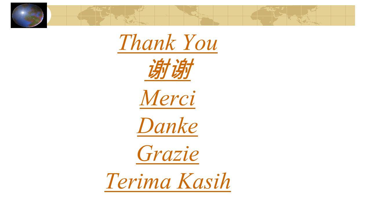 Thank You 谢谢 Merci Danke Grazie Terima Kasih