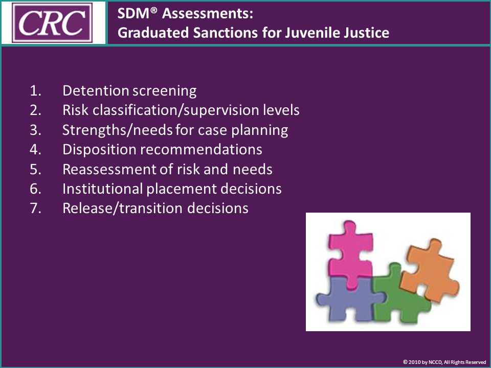 © 2010 by NCCD, All Rights Reserved 1.Detention screening 2.Risk classification/supervision levels 3.Strengths/needs for case planning 4.Disposition recommendations 5.Reassessment of risk and needs 6.Institutional placement decisions 7.Release/transition decisions SDM® Assessments: Graduated Sanctions for Juvenile Justice