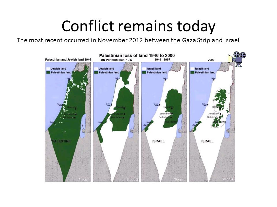Conflict remains today The most recent occurred in November 2012 between the Gaza Strip and Israel