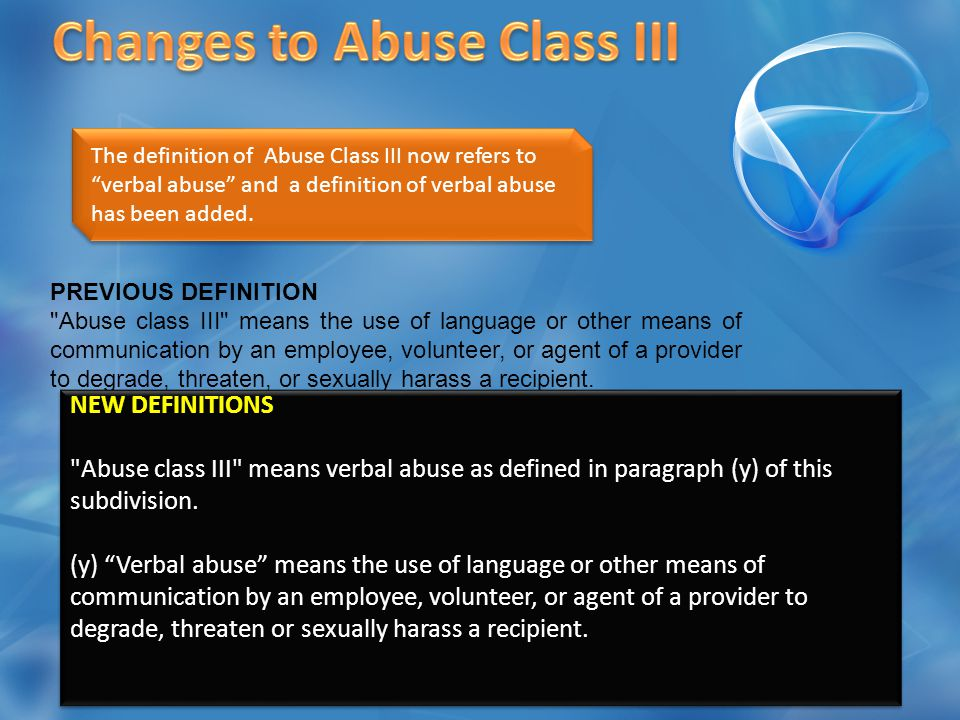 The definition of Neglect Class I now includes a reference to Sexual Abuse.