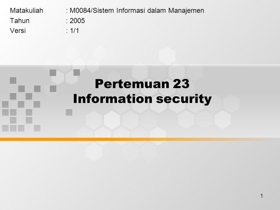 1 Pertemuan 23 Information security Matakuliah: M0084/Sistem Informasi dalam Manajemen Tahun: 2005 Versi: 1/1