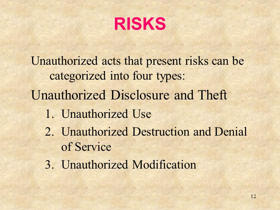 12 RISKS Unauthorized acts that present risks can be categorized into four types: Unauthorized Disclosure and Theft 1.Unauthorized Use 2.Unauthorized
