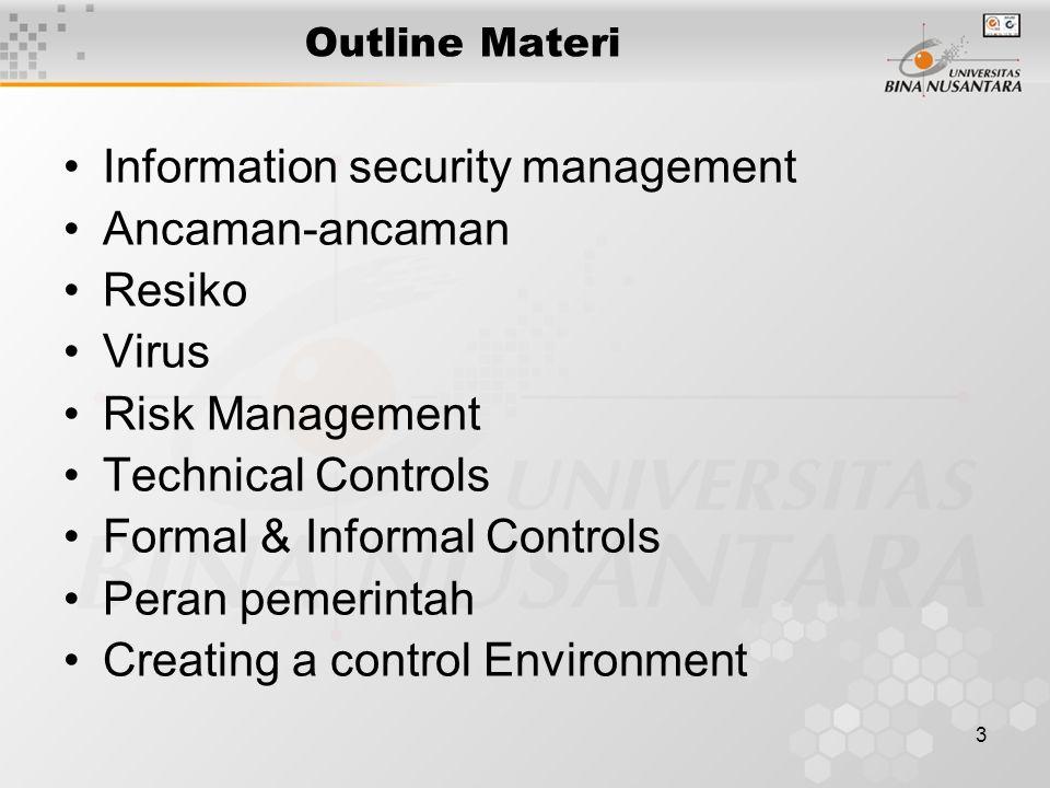 3 Outline Materi Information security management Ancaman-ancaman Resiko Virus Risk Management Technical Controls Formal & Informal Controls Peran pemerintah Creating a control Environment