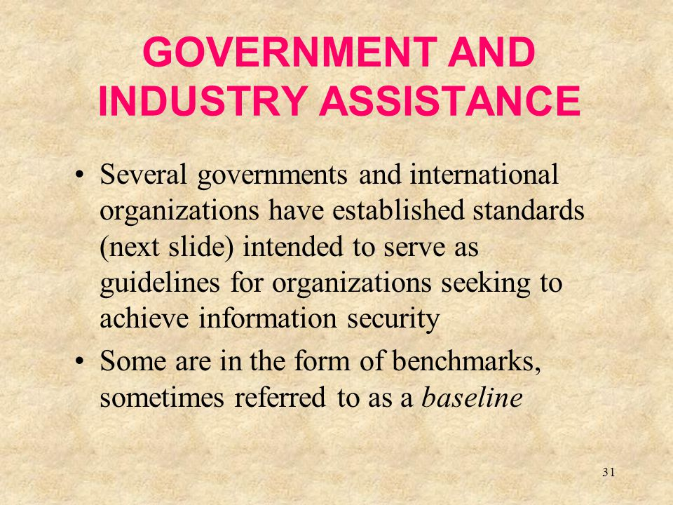 31 GOVERNMENT AND INDUSTRY ASSISTANCE Several governments and international organizations have established standards (next slide) intended to serve as