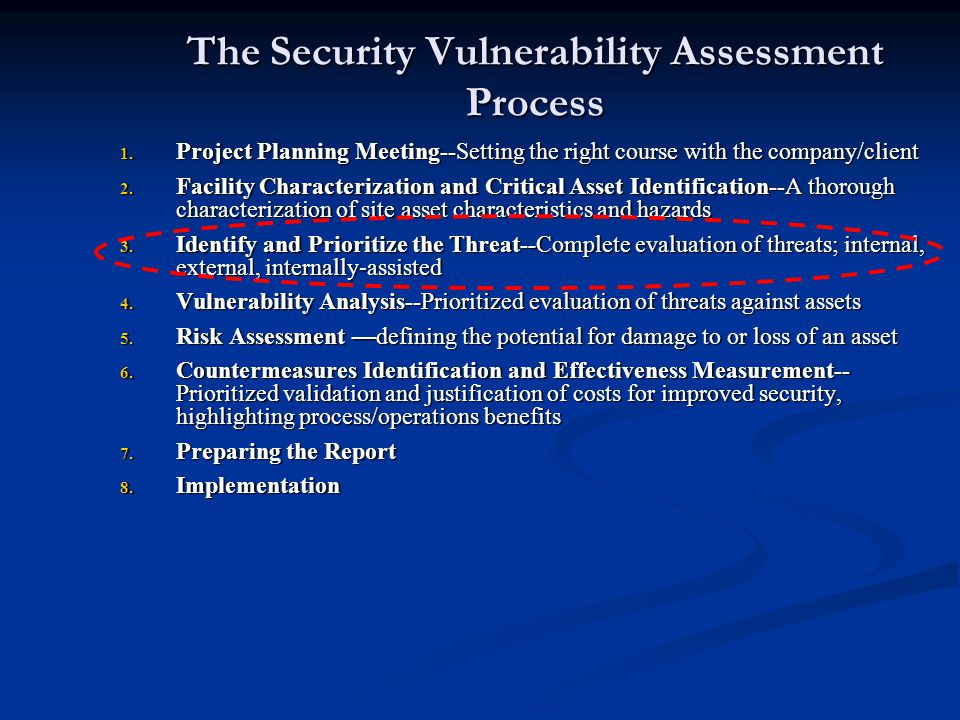 The Security Vulnerability Assessment Process 1. Project Planning Meeting--Setting the right course with the company/client 2. Facility Characterizati