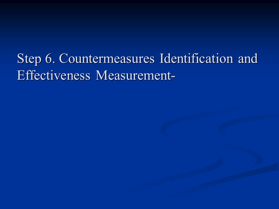 Step 6. Countermeasures Identification and Effectiveness Measurement-