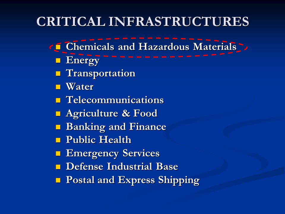 CRITICAL INFRASTRUCTURES Chemicals and Hazardous Materials Chemicals and Hazardous Materials Energy Energy Transportation Transportation Water Water T