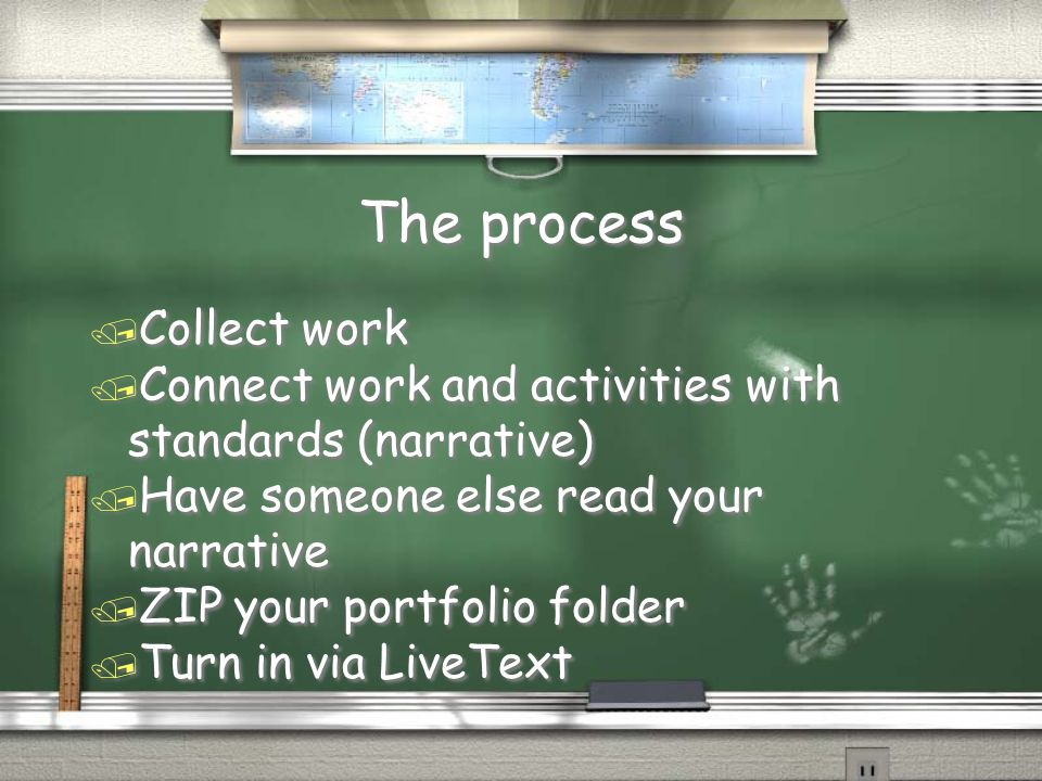 The process / Collect work / Connect work and activities with standards (narrative) / Have someone else read your narrative / ZIP your portfolio folde
