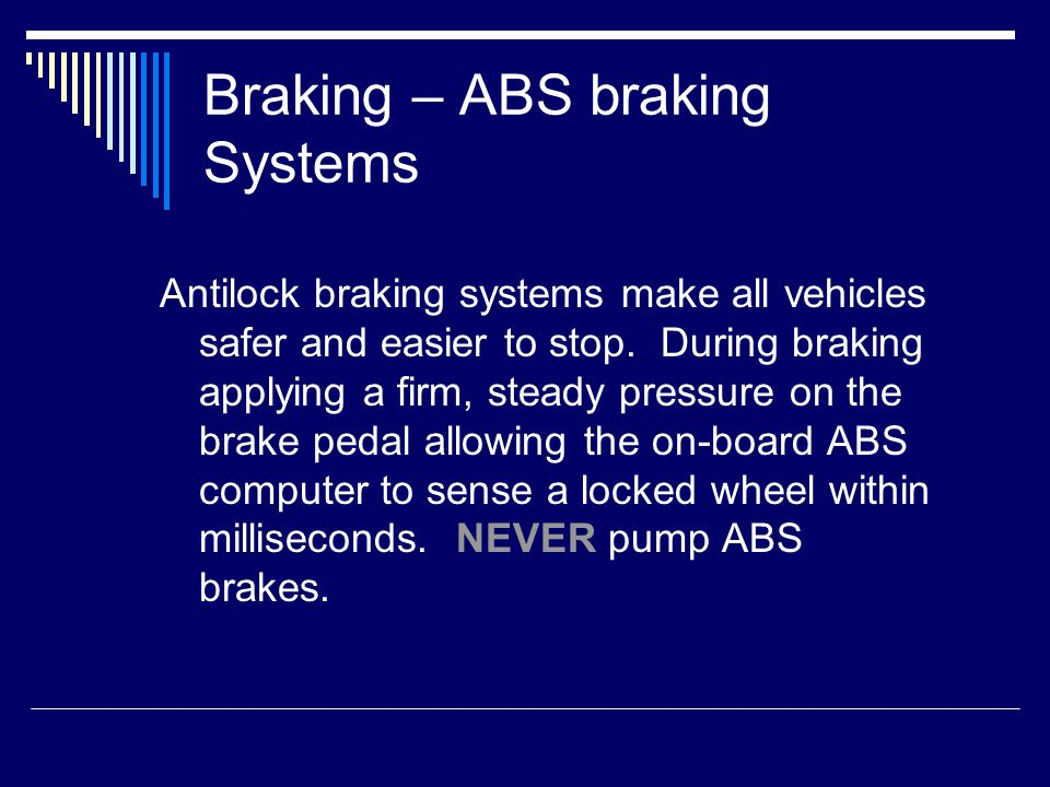 Controlling A Skid Should you find yourself going into a skid, let off the accelerator, do not apply the brakes, slightly turn into the direction of the skid and then lightly apply the brakes.