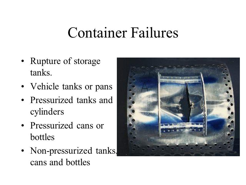 Container Failures Rupture of storage tanks.