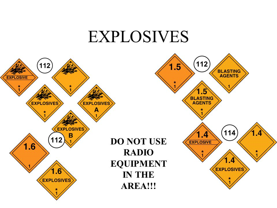 EXPLOSIVES DO NOT USE RADIO EQUIPMENT IN THE AREA!!!
