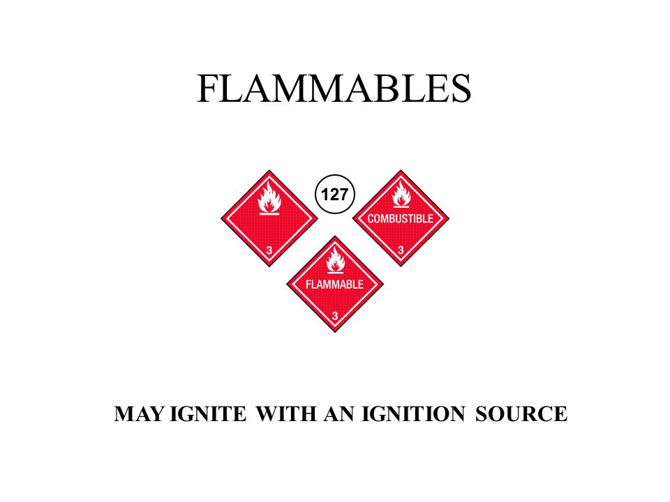 FLAMMABLES MAY IGNITE WITH AN IGNITION SOURCE