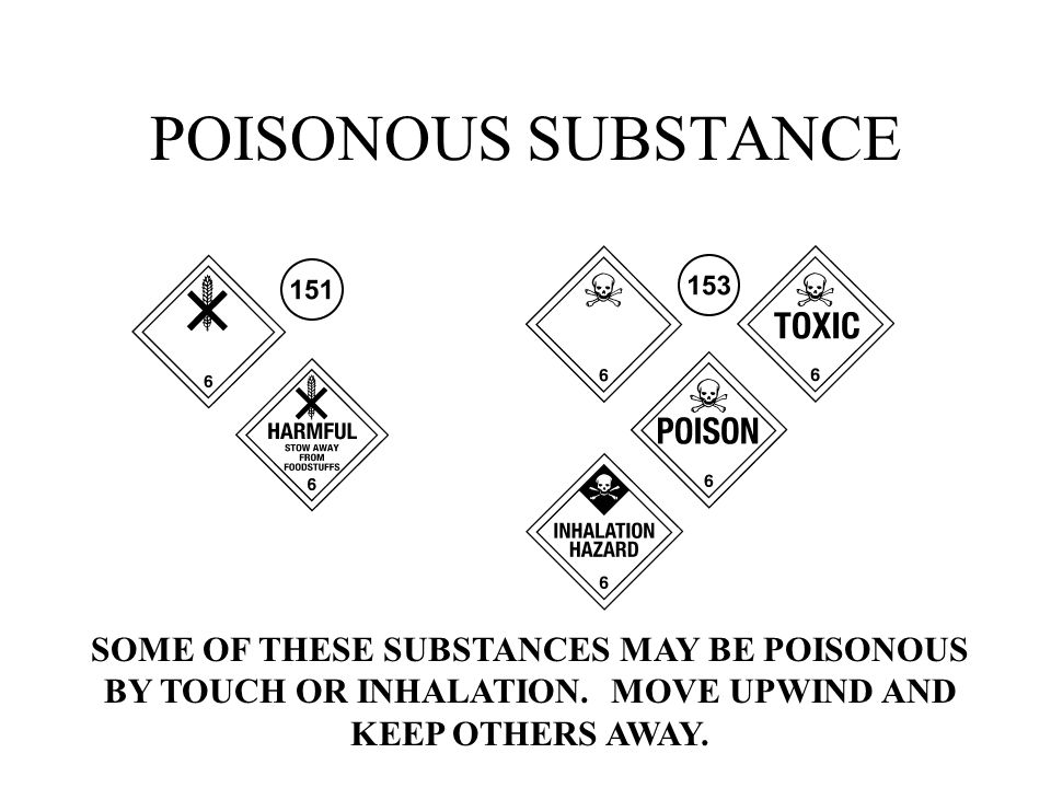 POISONOUS SUBSTANCE SOME OF THESE SUBSTANCES MAY BE POISONOUS BY TOUCH OR INHALATION.