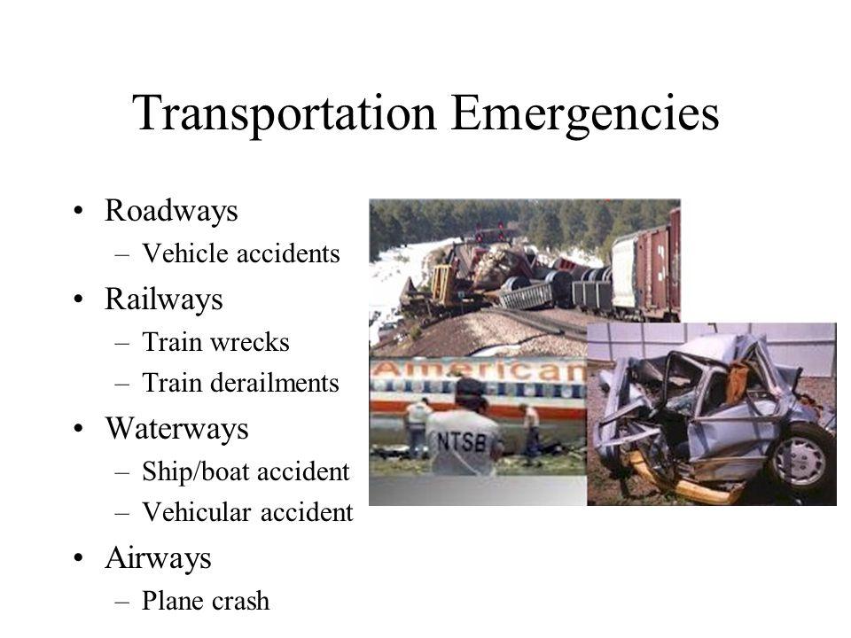 Transportation Emergencies Roadways –Vehicle accidents Railways –Train wrecks –Train derailments Waterways –Ship/boat accident –Vehicular accident Airways –Plane crash
