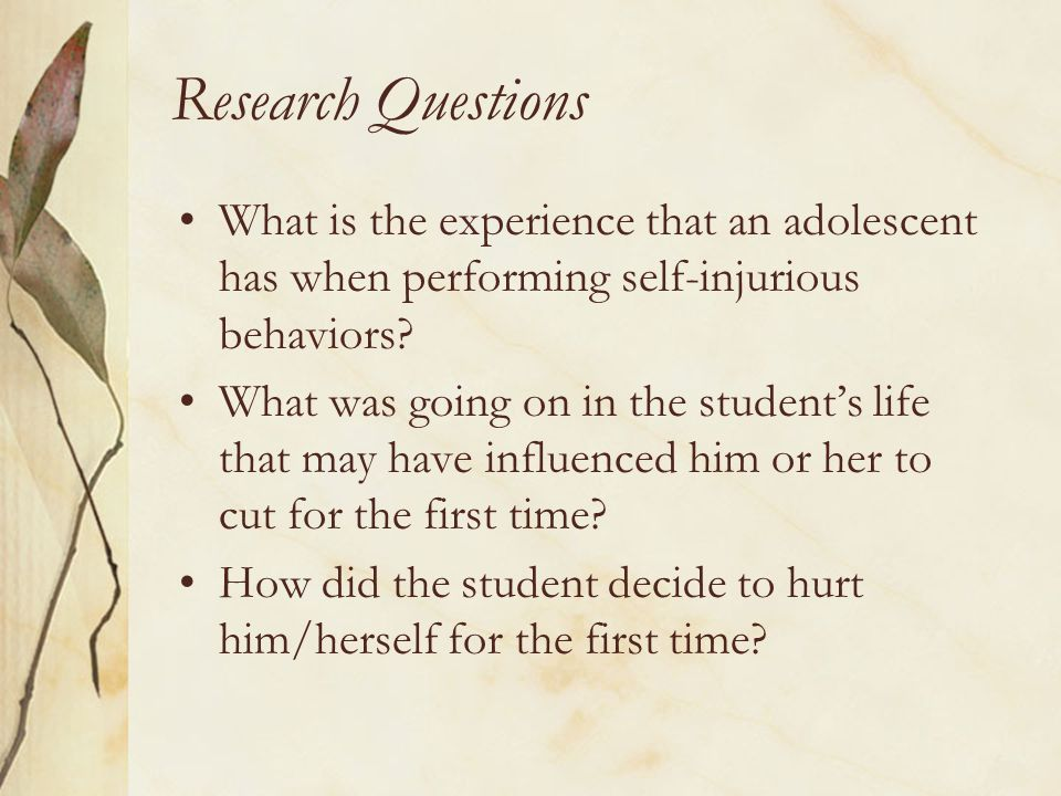 Research Questions What is the experience that an adolescent has when performing self-injurious behaviors? What was going on in the student's life tha