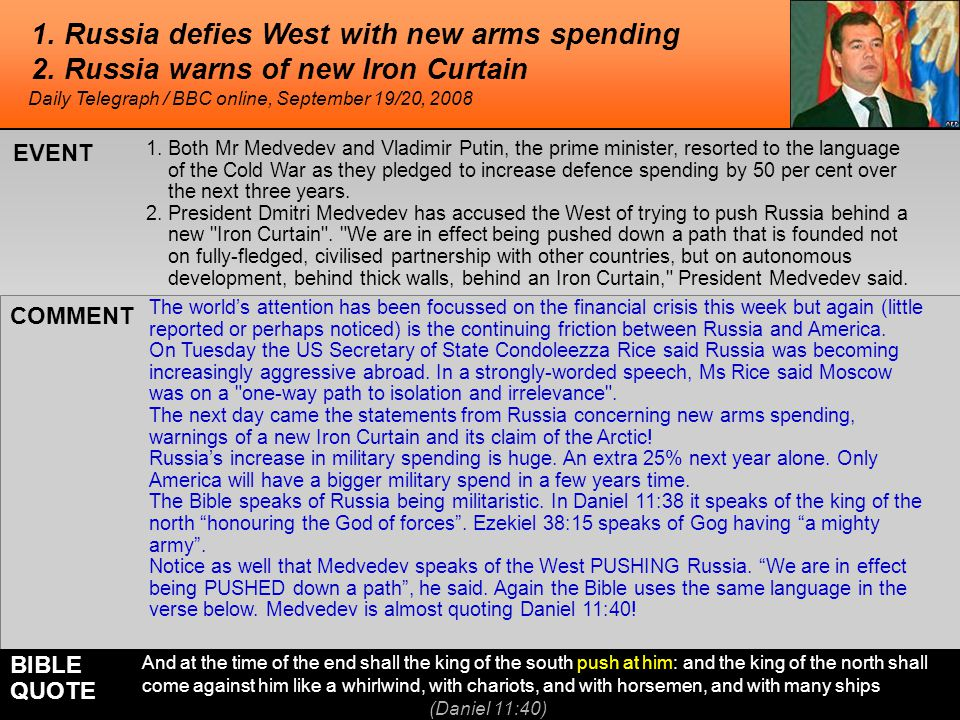 1. Russia defies West with new arms spending 2.