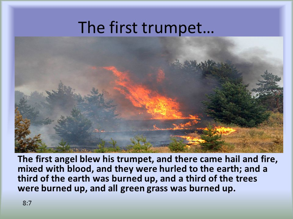 The first trumpet… The first angel blew his trumpet, and there came hail and fire, mixed with blood, and they were hurled to the earth; and a third of the earth was burned up, and a third of the trees were burned up, and all green grass was burned up.