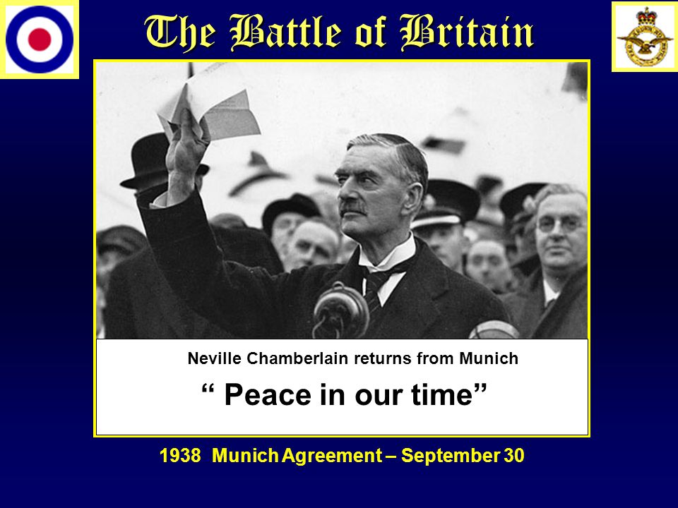 """The Battle of Britain """" Peace in our time"""" Neville Chamberlain returns from Munich 1938 Munich Agreement – September 30"""