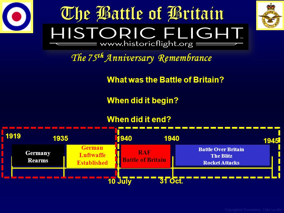 The Battle of Britain Copyrighted Presentation Mike Lavelle What was the Battle of Britain? When did it begin? When did it end? 1919 1945 1940 10 July