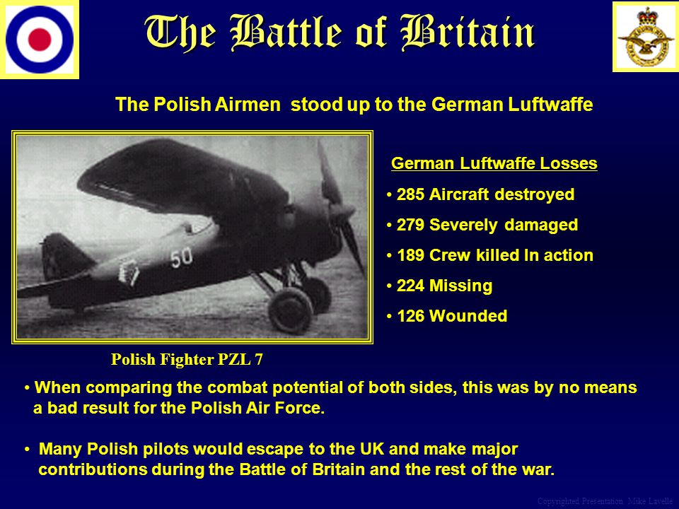 The Battle of Britain Copyrighted Presentation Mike Lavelle Polish Fighter PZL 7 German Luftwaffe Losses 285 Aircraft destroyed 279 Severely damaged 1
