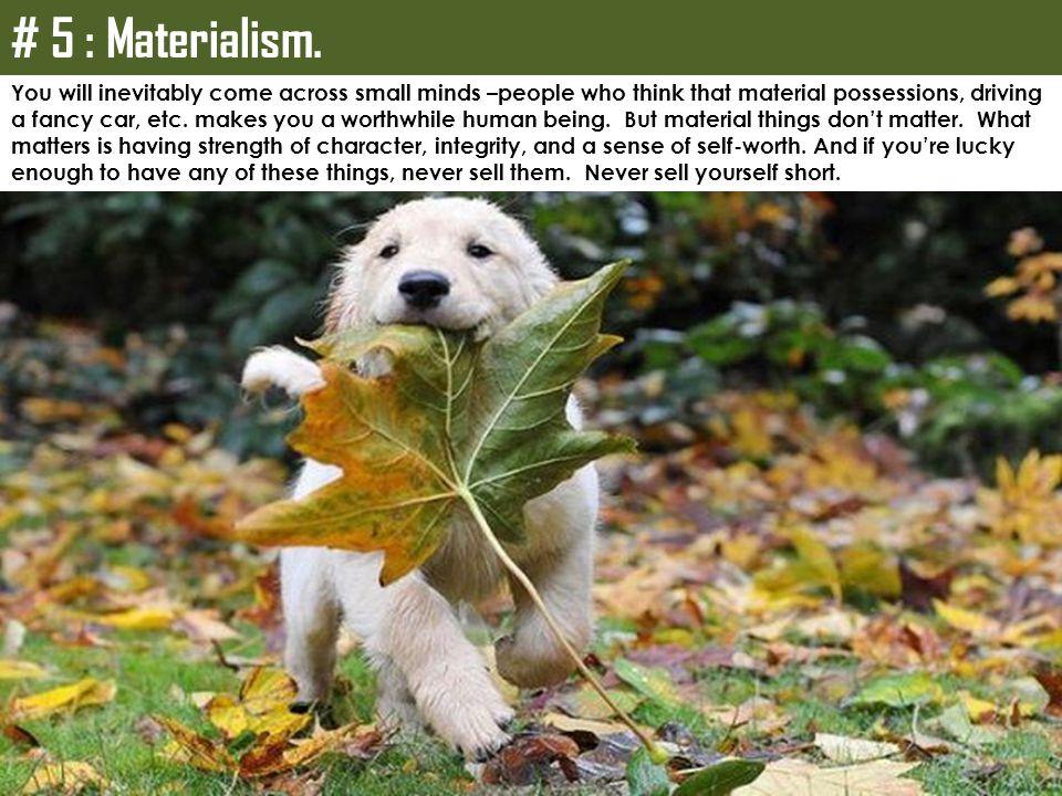 # 5 : Materialism.