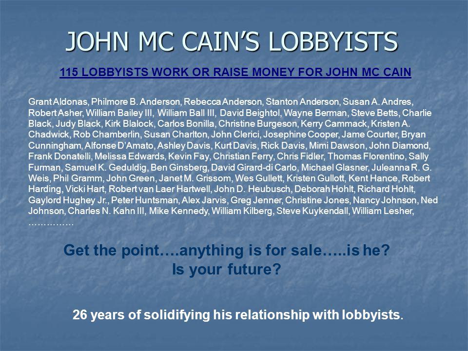 JOHN MC CAIN'S LOBBYISTS 115 LOBBYISTS WORK OR RAISE MONEY FOR JOHN MC CAIN Grant Aldonas, Philmore B.