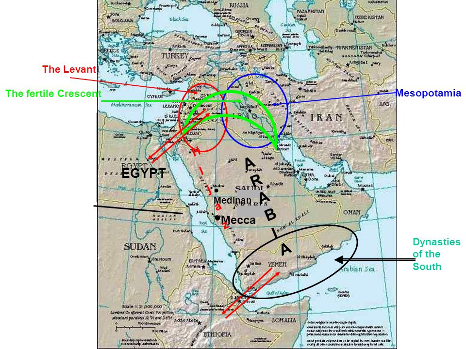 Mecca Medinah The Levant Mesopotamia The fertile Crescent HIjazHIjaz EGYPT ARABIAARABIA Dynasties of the South