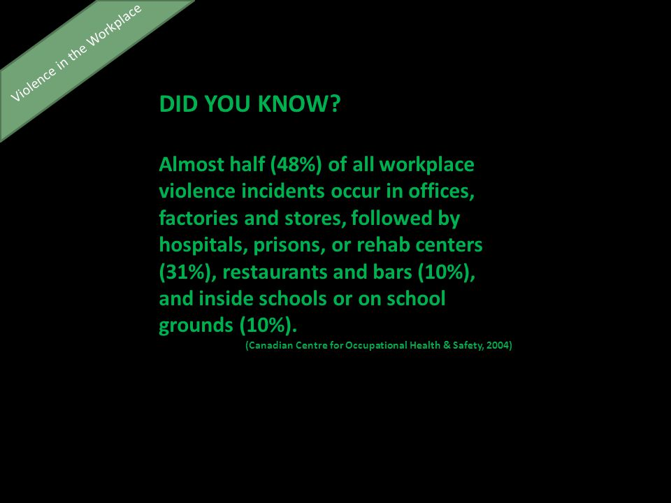 Violence in the Workplace DID YOU KNOW.