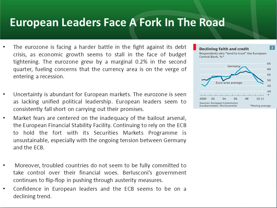European Leaders Face A Fork In The Road The eurozone is facing a harder battle in the fight against its debt crisis, as economic growth seems to stal