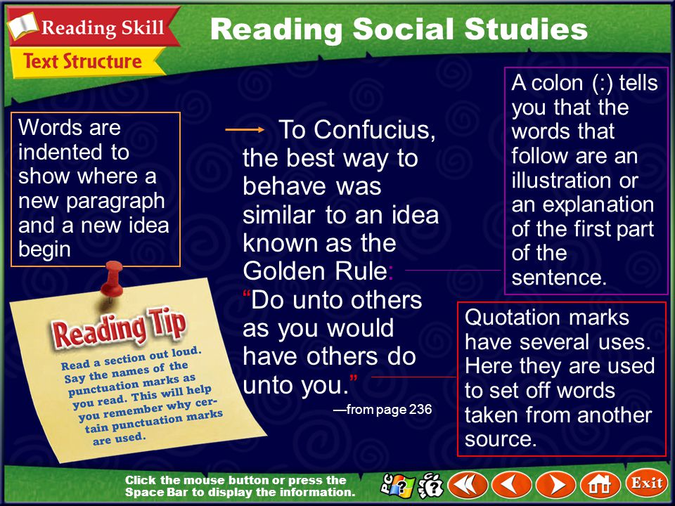Headings and Punctuation Learn It! Reading Social Studies As you read this chapter, pay attention to bold headings and punctuation. They are used by a
