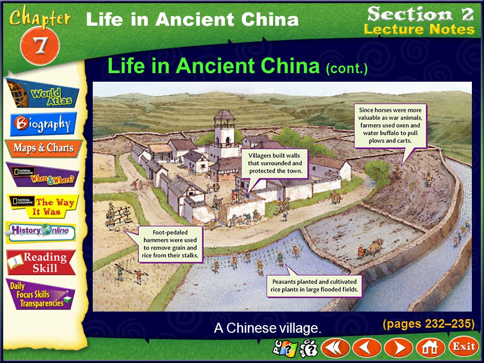 Click the mouse button or press the Space Bar to display the information. Life in Ancient China (cont.) Men were considered more important than women