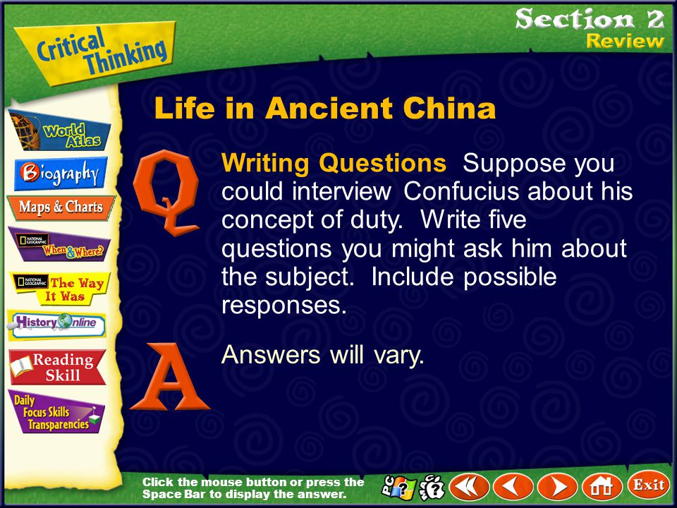 Click the mouse button or press the Space Bar to display the answer. Contrast How did Daoism differ from Confucianism? Confucianism encouraged people