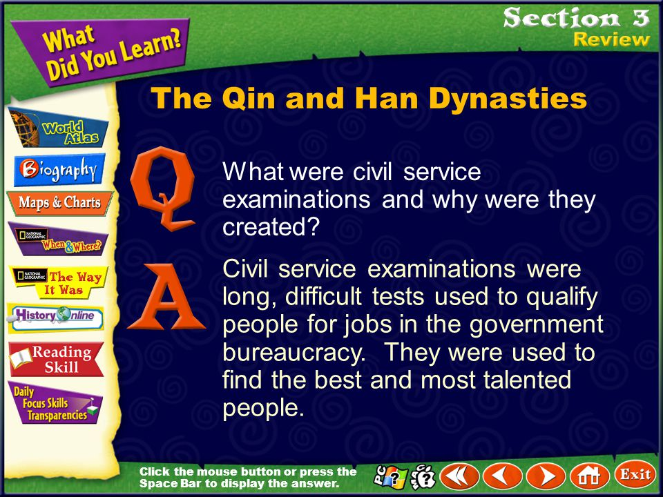 Click the mouse button or press the Space Bar to display the answer. The Qin and Han Dynasties Why did Qin Shihuangdi have the Great Wall built? to ke