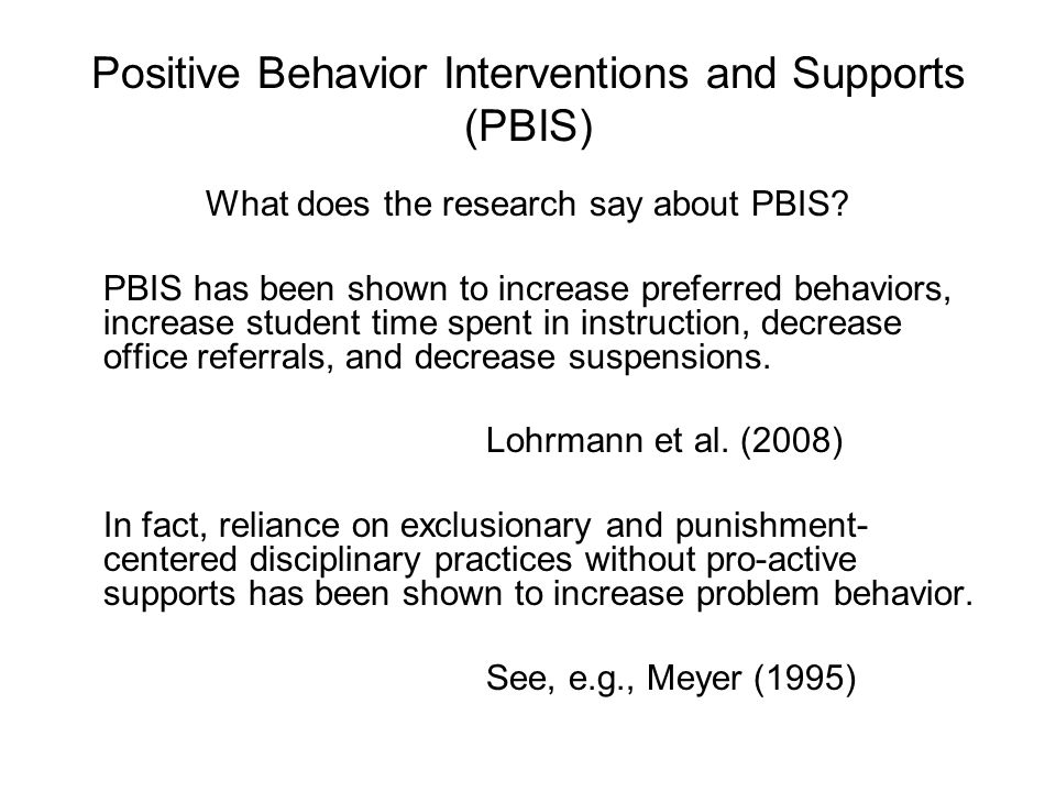 What does the research say about PBIS.
