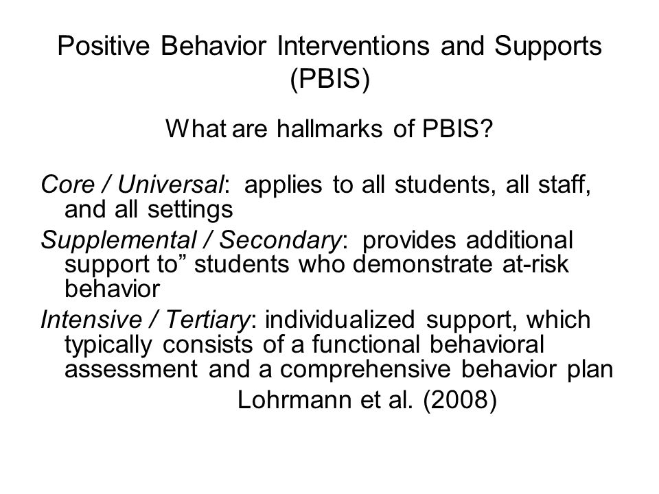 What are hallmarks of PBIS.