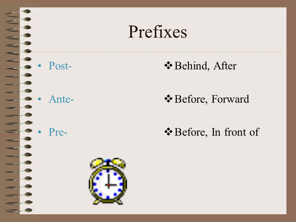 Prefixes Post- Ante- Pre-  Behind, After  Before, Forward  Before, In front of