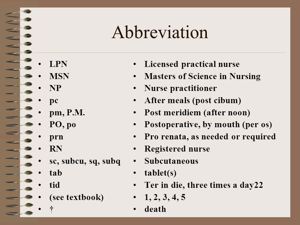 Abbreviation LPN MSN NP pc pm, P.M.