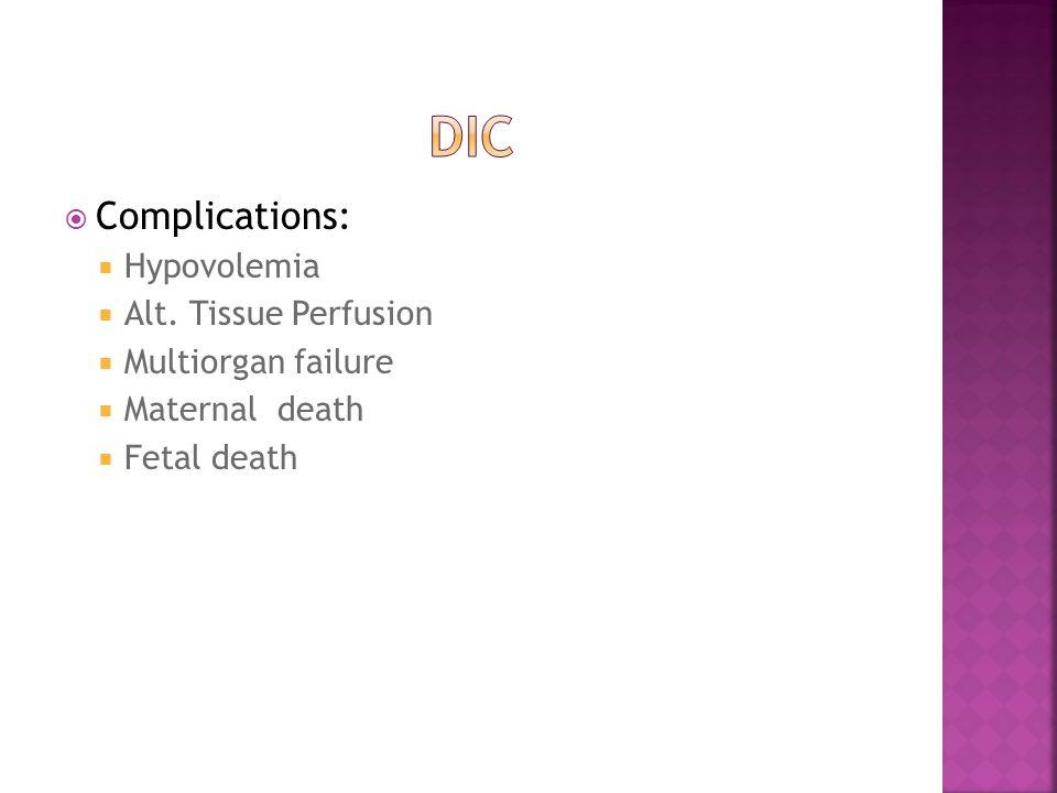  Complications:  Hypovolemia  Alt. Tissue Perfusion  Multiorgan failure  Maternal death  Fetal death