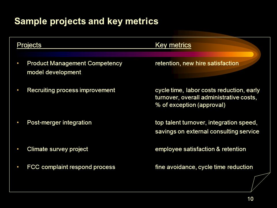 10 ProjectsKey metrics Product Management Competency retention, new hire satisfaction model development Recruiting process improvementcycle time, labor costs reduction, early turnover, overall administrative costs, % of exception (approval) Post-merger integrationtop talent turnover, integration speed, savings on external consulting service Climate survey projectemployee satisfaction & retention FCC complaint respond processfine avoidance, cycle time reduction Sample projects and key metrics