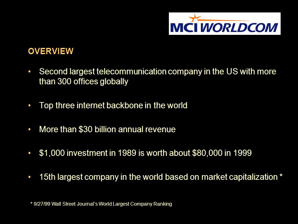 OVERVIEW Second largest telecommunication company in the US with more than 300 offices globally Top three internet backbone in the world More than $30 billion annual revenue $1,000 investment in 1989 is worth about $80,000 in 1999 15th largest company in the world based on market capitalization * * 9/27/99 Wall Street Journal's World Largest Company Ranking